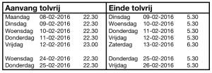 Tijden, 24-uursdienst 02-2016