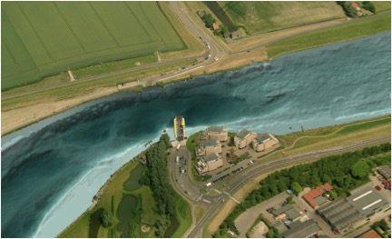 Erosiekuil in het Spui gevisualiseerd. Bron: www.deltares.nl
